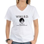 What Would Jeannie Bladdersha Women's V-Neck T-Shi