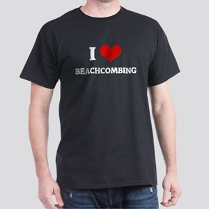 I Love Beachcombing Black T-Shirt