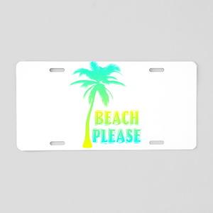 palm tree beach please Aluminum License Plate