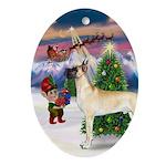 Great Dane & Christmas Tree Oval Ornament