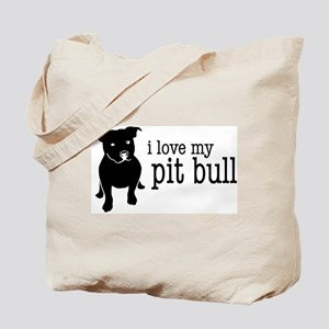 Love My Pit Bull (Natural Ears) Tote Bag