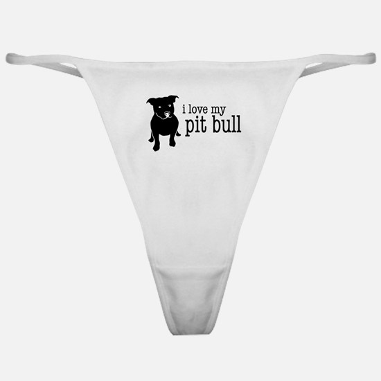 Love My Pit Bull (Natural Ears) Classic Thong