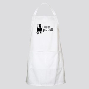 Love My Pit Bull (Cropped Ears) BBQ Apron