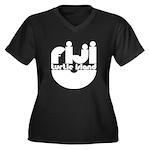 Turtle Island Women's Plus Size V-Neck Dark T-Shir