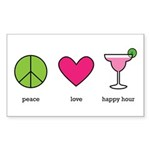 peace. love. happy hour Rectangle Sticker 50 pk)