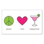 peace. love. happy hour Rectangle Sticker 10 pk)