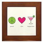 peace. love. happy hour Framed Tile