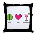 peace. love. happy hour Throw Pillow