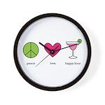 peace. love. happy hour Wall Clock