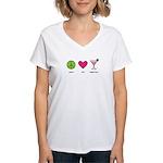 peace. love. happy hour Women's V-Neck T-Shirt