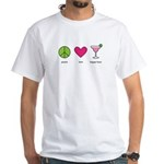 peace. love. happy hour White T-Shirt