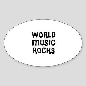 WORLD MUSIC ROCKS Oval Sticker