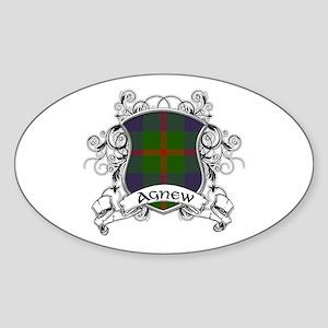 Agnew Tartan Shield Sticker (Oval)