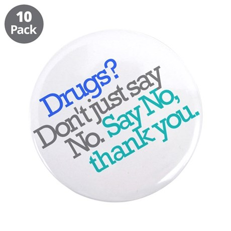 """No thank you 3.5"""" Button (10 pack)"""