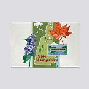 New Hampshire Map Rectangle Magnet