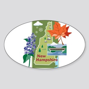New Hampshire Map Oval Sticker