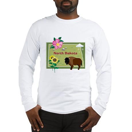 North Dakota Map Long Sleeve T-Shirt
