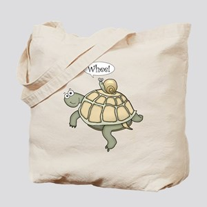 """Turtle and Snail """"Whee!"""" Tote Bag"""