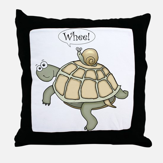 "Turtle and Snail ""Whee!"" Throw Pillow"
