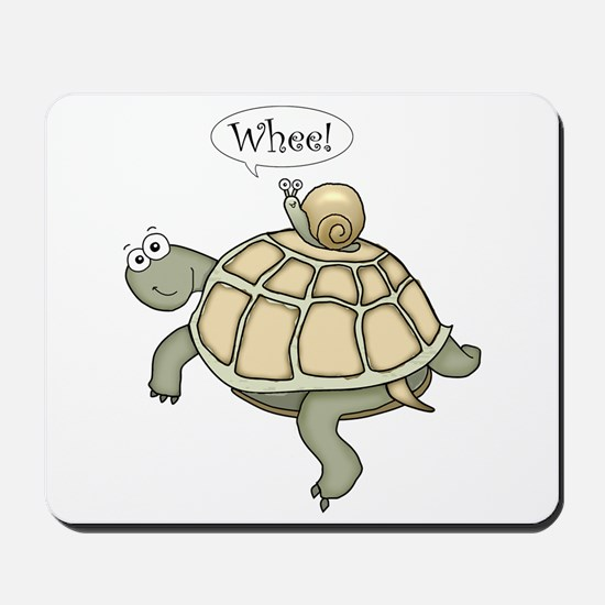 """Turtle and Snail """"Whee!"""" Mousepad"""