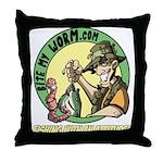 Bite My Worm Logo Throw Pillow