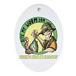 Bite My Worm Logo Oval Ornament