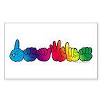 DEAFIE Rainbow Sticker (Rectangle 10 pk)