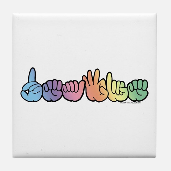 DEAFIE Pastel Tile Coaster