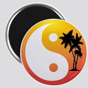 Palm Trees at Sunset Yin Yang Magnet