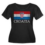 Vintage Croatia Women's Plus Size Scoop Neck Dark
