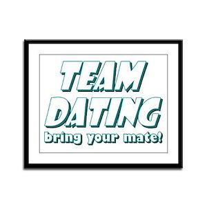 Dating- Blue Framed Panel Print
