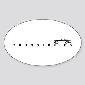 1955 T Bird Top on Script BLK Oval Sticker (10 pk)