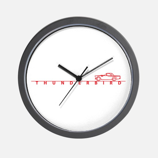 1955 T Bird Top on Script Red Wall Clock