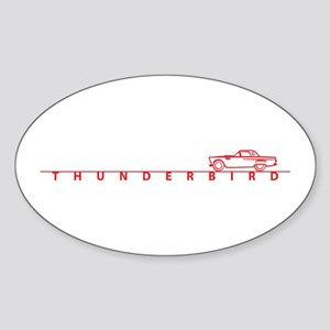 1955 T Bird Top on Script Red Oval Sticker (10 pk)
