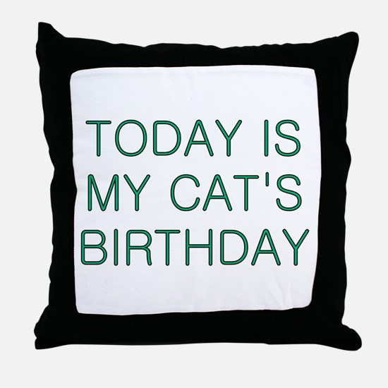 Cat's Birthday Throw Pillow
