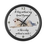 Without my Great Pyrenees Large Wall Clock