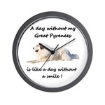 Without my Great Pyrenees Wall Clock