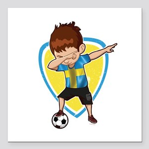 "Football Dab Sweden Swed Square Car Magnet 3"" x 3"""