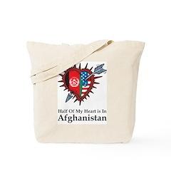 Half Heart Afghanistan Tote Bag