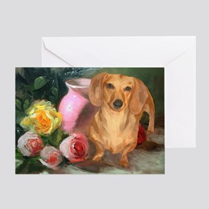 Vase Doxie Greeting Card
