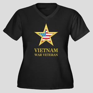 Vietnam War Veteran Women's Plus Size V-Neck Dark