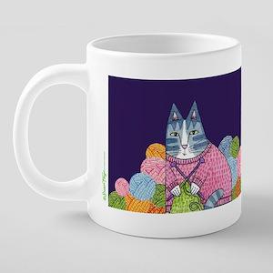 Knitting Cat 20 oz Ceramic Mega Mug