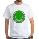 Green with Silver Laurel White T-Shirt
