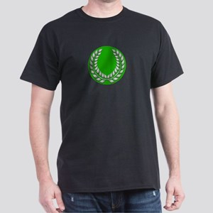 Green with Silver Laurel Black T-Shirt