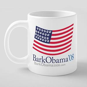 Bark Obama US paw flag mug. 20 oz Ceramic Mega Mug