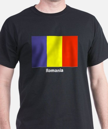 Romania Romanian Flag (Front) Black T-Shirt
