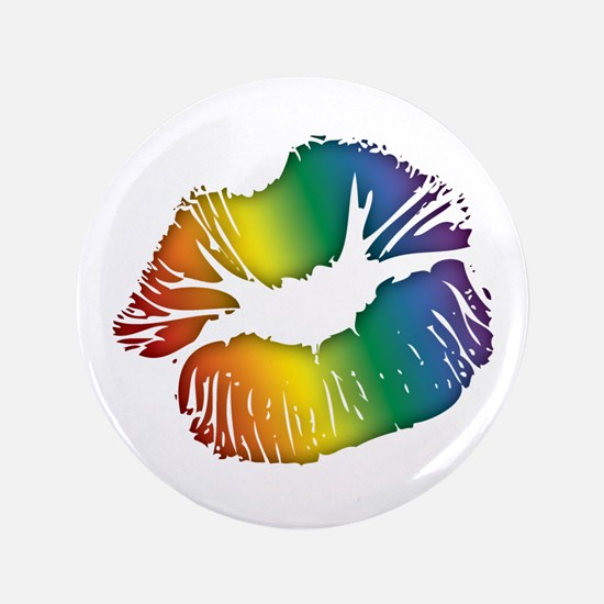 "Big Rainbow Lips 3.5"" Button"