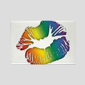 Big Rainbow Lips Rectangle Magnet
