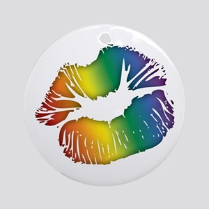 Big Rainbow Lips Round Ornament