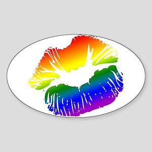 Big Rainbow Lips Oval Sticker